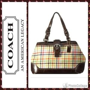 Coach Tattersall Hampton Wool Satchel